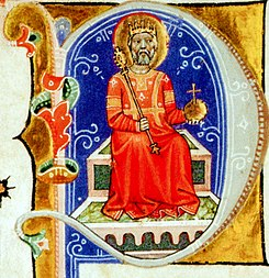 Stephen I on the throne (Chronicon Pictum 040).jpg