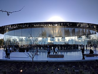 External view of the Steve Jobs Theater at Apple Park in 2018 Steve Jobs Theater - external.jpg