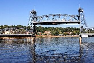 Stillwater Bridge (St. Croix River) - The bridge in 2013 with its lift span raised