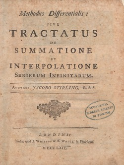Stirling - Methodus differentialis, sive Tractatus de summatione et interpolatione serierum infinitarum, 1764 - 739821.tif