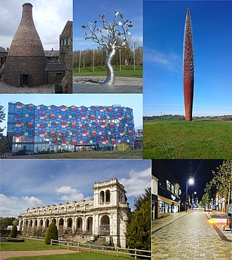 Stoke-on-Trent - Top to bottom, left to right: Bottle kiln in Longton, Tree Stories sculpture in Hanley, Golden sculpture in Tunstall, One Smithfield building in Hanley, Trentham gardens, Hanley cultural quarter