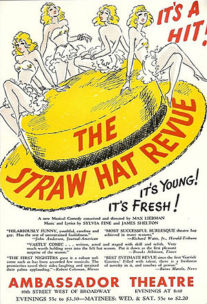 Sylvia Fine - Promotional flyer for The Straw Hat Revue, 1939. Fine met her future husband, Danny Kaye, while working in it.