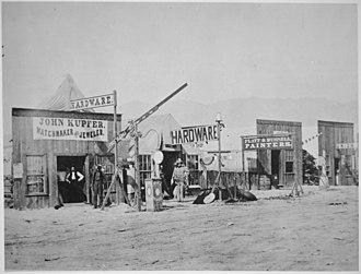 Corinne, Utah - Street view in Corinne, Box Elder County, Utah. Close-up view of several shops, 1869.