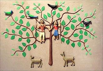 Surguja district - Folk decorative clay figures of Surguja district at the Quai Branly Museum, Paris