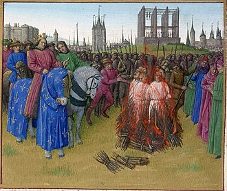 The burning of the pantheistic Amalrician heretics in 1210, in the presence of King Philip II Augustus. In the background is the Gibbet of Montfaucon and, anachronistically, the Grosse Tour of the Temple. Illumination from the Grandes Chroniques de France, c. 1455-1460. Supplice des Amauriciens.jpg