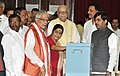 Sushma Swaraj casted her vote in the Vice Presidential election at Parliament House, in New Delhi on August 07, 2012. The Chairman of BJP Parliamentary Party, Shri L.K. Advani and other dignitaries are also seen.jpg