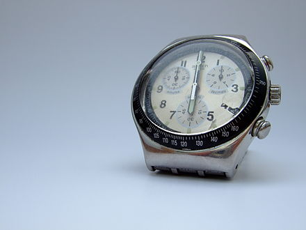 A contemporary quartz watch, 2007 Swatch Irony angle below.jpg