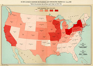 Swiss Americans - Swiss emigrants to the USA totaled 104,000 according to the 1890 census.