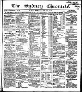 <i>The Australasian Chronicle</i> newspaper in Sydney, NSW, Australia, active 1839 - 1846