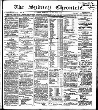 The Australasian Chronicle - Image of front page of the paper under one of its later titles, The Sydney Chronicle.