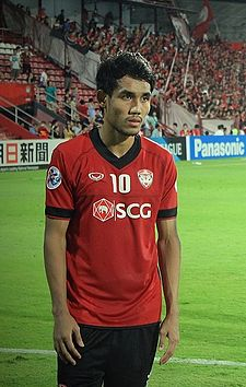 Teerasil Dangda is the club's all-time top scorer and holds the record for most games played for Muangthong United. T.Dangda.jpg