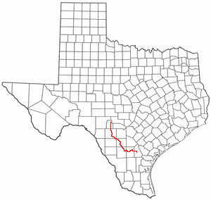 Frio River - Location of the Frio River, Texas