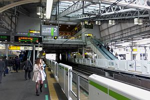 Tabata Station (Tokyo) - View of the platforms looking northward in 2015