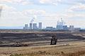 Tagebau Nochten (Vattenfall), im Hintergrund ein Braunkohlekraftwerk - brown coal- extraction & use (7789873048).jpg