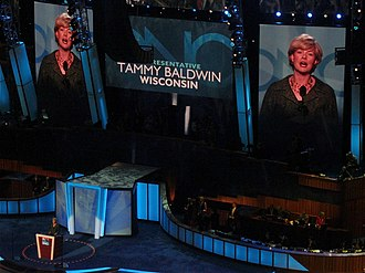 Tammy Baldwin - Baldwin speaks during the second day of the 2008 Democratic National Convention in Denver, Colorado.