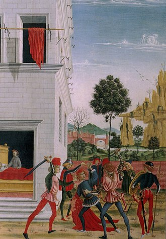 Miracles of St Bernardino - Image: Tavolette di s. bernardino, 1473, san bernardino appare di notte a giov.antonio tornato ferito in un agguato e lo risana