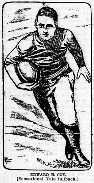 Ted Coy - Depiction of Coy carrying the ball
