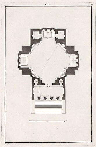 Villa Barbaro - Plan of the church (Ottavio Bertotti Scamozzi, 1783)