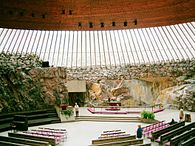 The Temppeliaukio church is one of the most popular tourist attractions in the city; half a million people visit it annually.