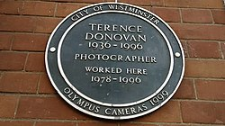 Photo of Terence Donovan green plaque