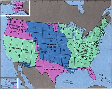 United states territorial acquisitions wikiwand census bureau map depicting territorial acquisitions and dates of statehood probably created in the 1970s publicscrutiny Images