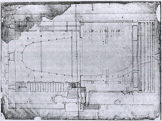 Vigarani's plan of the Salle du Palais-Royal Theatre du Palais-Royal 1673 - plan - WD Howarth 1997 p149.jpg