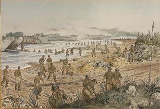Douglas Wimberley - The Black Watch landing in Sicily at Red Beach.