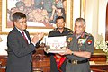 The Chief of the Army Staff, General V.K. Singh released two Coffee Table Books named 'A Saga in Stone' and 'Friends of the Earth', in New Delhi on September 22, 2011.jpg