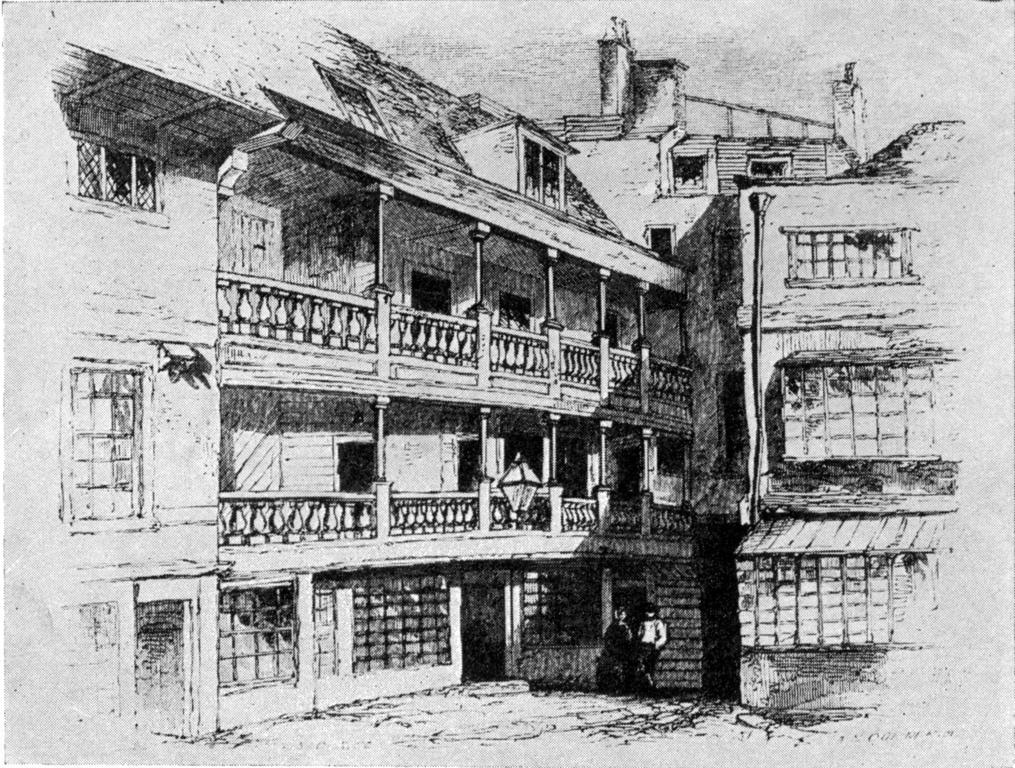 The George Inn en 1858. C'est le seul pub avec un balcon extérieur à Londres.