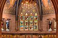 The Great Window shows Parables of Jesus and the mosaics show the Sciences and Humanities, Sanctuary, Sage Chapel, Cornell Univ.jpg
