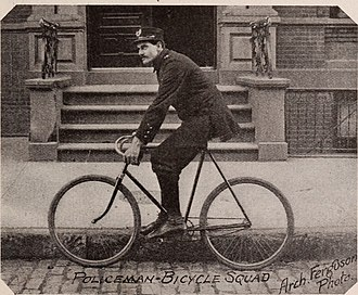 Police bicycle - Bicycle-mounted NYPD officer in the 1890s