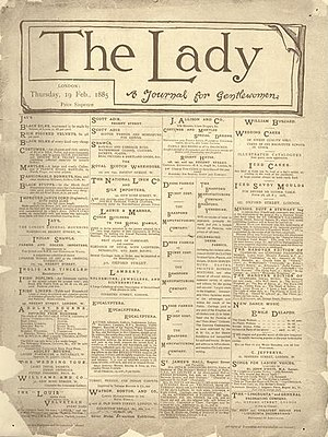The Lady (magazine) - First issue of The Lady, February 19, 1885
