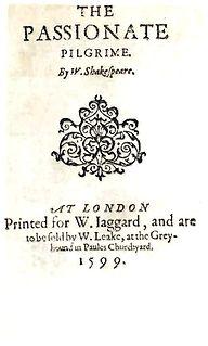 <i>The Passionate Pilgrim</i> anthology of poems associated with Shakespeare