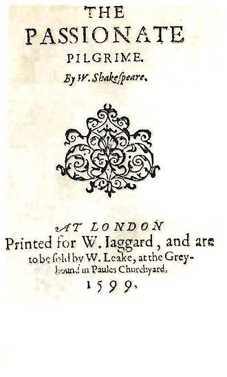 The Passionate Pilgrim - Title page of The Passionate Pilgrim (1599)