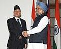 The Prime Minister, Dr. Manmohan Singh meeting the Prime Minister of Nepal, Dr. Baburam Bhattarai, in New Delhi on October 21, 2011.jpg