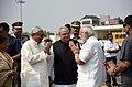 The Prime Minister, Shri Narendra Modi being welcomed by the Governor of Bihar, Shri Satya Pal Malik and the Chief Minister of Bihar, Shri Nitish Kumar, on his arrival, in Patna, Bihar on October 14, 2017.jpg
