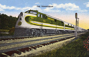 Southern Railway (U.S.) - Postcard showing the Tennessean in its 1940s livery, with an EMD E6A locomotive on the point