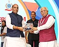 """The Union Home Minister, Shri Rajnath Singh being felicitated by the Chief Minister of Haryana, Shri Manohar Lal Khattar at the Fourth Counter Terrorism Conference on """"Changing Contours of Global Terror"""", in Gurugram, Haryana.jpg"""