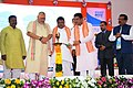 The Union Minister for Petroleum & Natural Gas and Skill Development & Entrepreneurship, Shri Dharmendra Pradhan lighting the lamp to inaugurate the National SC-ST Hub State Conclave and Exhibition, in Bhubaneswar, Odisha.JPG