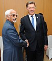 The Vice President, Shri M. Hamid Ansari in a bilateral meeting with the Prime Minister of Lithuania, Mr. Algirdas Butkevicius, on the sidelines of the 11th ASEM Summit, in Ulaanbaatar, Mongolia on July 16, 2016.jpg