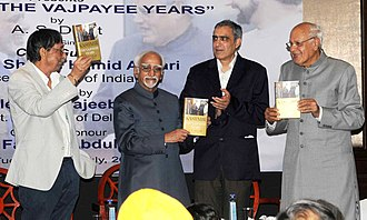A. S. Dulat - The Vice President of India, Hamid Ansari releasing the book 'Kashmir The Vajpayee Years' authored by A.S. Dulat in New Delhi on 21 July 2015. Also visible are Farooq Abdullah and Najeeb Jung.