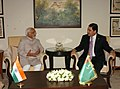The Vice President, Shri Mohd. Hamid Ansari with the President of Turkmenistan, Mr. Gurbanguly Berdimuhamedov, in New Delhi on May 25, 2010.jpg