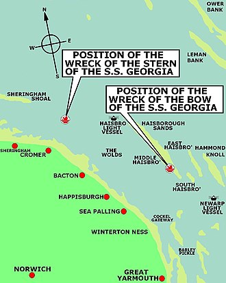 SS Georgia - Position of the two halves of the SS Georgia