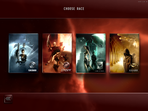 The four playable races in Eve Online as seen on the character creation menus The four playable EVE races as seen during character creation.png