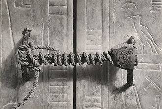 KV62 - The unbroken seal of the third of Tutankhamun's innermost shrines from four.