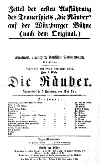 The Robbers - Playbill of Würzburg performance, 1804