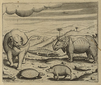 Orang National Park - A sketch of elephant, rhinoceros and pygmy hog (Porcula salvania) (an endangered species of small wild pig)