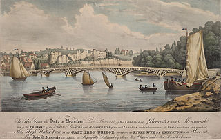 This high water view of the Cast Iron Bridge erected over the River Wye at Chepstow in the year 1816
