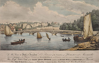 Old Wye Bridge, Chepstow - Image: This high water view of the Cast Iron Bridge erected over the River Wye at Chepstow in the year 1816
