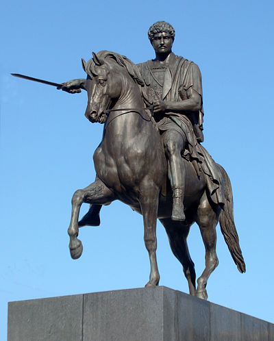 Bertel Thorvaldsen's Equestrian Statue of Prince Jozef Poniatowski (copy of the destroyed original), in front of the Presidential Palace, Warsaw Thorwaldsen Jozef Poniatowski Warsaw 01.jpg